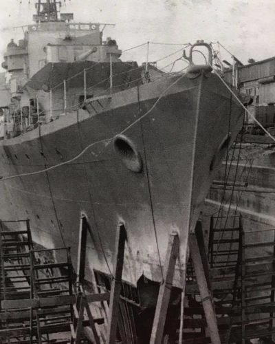HMS Kelly undergoing repairs in Immingham